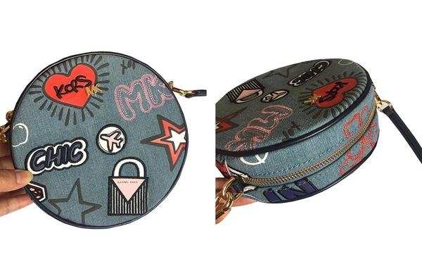 ~雪黛屋~MK 斜背圓包超小容量可肩背可斜側背國際正版保證進口防水防單寧布品證品牌塵套K2202