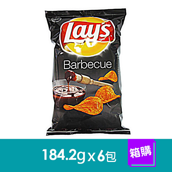 美國Lay,s洋芋片-碳烤口味(184.2gx6包)-箱購
