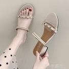夏季新款網紅超火鉚釘拖鞋女外穿氣質百搭中跟鞋兩穿涼拖鞋潮  一米陽光