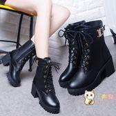 秋季新款女靴歐美英倫時尚馬丁靴粗跟交叉繫帶皮帶扣水?短靴