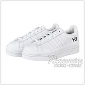 Adidas Y-3 HICHO黑字壓印LOGO皮革厚底運動板鞋(白)