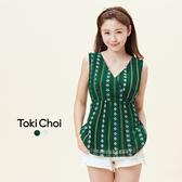 東京著衣-tokicho-腰部綁帶印花無袖長版上衣-XS.S.M(6016073)