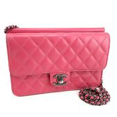 【奢華時尚】CHANEL 桃粉色菱格紋牛皮霧銀鍊手拿斜背兩用WOC包(八成新)#24120