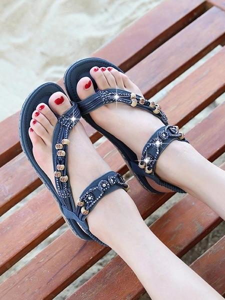 水鑚旅游涼鞋夏2021新款波西米亞民族風串珠夾趾學生百搭度假女鞋 果果輕時尚