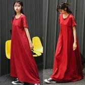 漂亮小媽咪 韓系純色長裙洋裝 【D8064】超長版 短袖 長裙 連身裙 孕婦裝 長洋裝