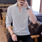 夏季網紅潮流韓版修身條紋男五分袖襯衫帥氣七分冰絲襯衣秋季長袖