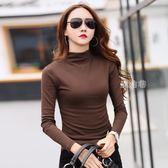 半高領打底衫女秋冬中領長袖t恤修身加厚純棉緊身上衣咖啡色小衫 鹿角巷