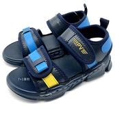 《7+1童鞋》台灣製 PRVITE 普萊米 百搭款 魔鬼氈 休閒涼鞋 E112 藍色