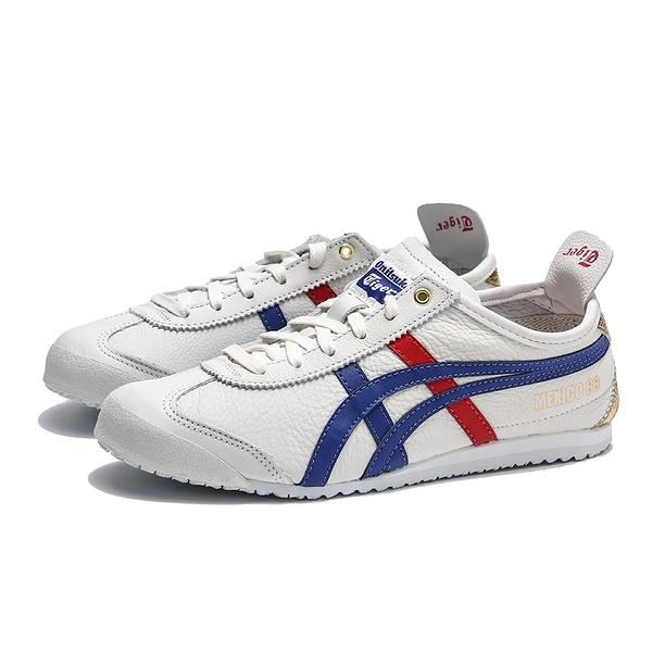 ASICS ONITLSUKATIGER 白 深藍紅 後跟金 休閒鞋 情侶鞋 男女  (布魯克林) D507L0152