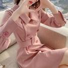 洋裝小香風 粉色西裝裙連衣裙秋新款雙排扣小個子長袖中長款a字裙 莎瓦迪卡