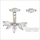 apm MONACO ECLAT系列晶鑽鑲飾梨形不對稱純銀耳環(銀)