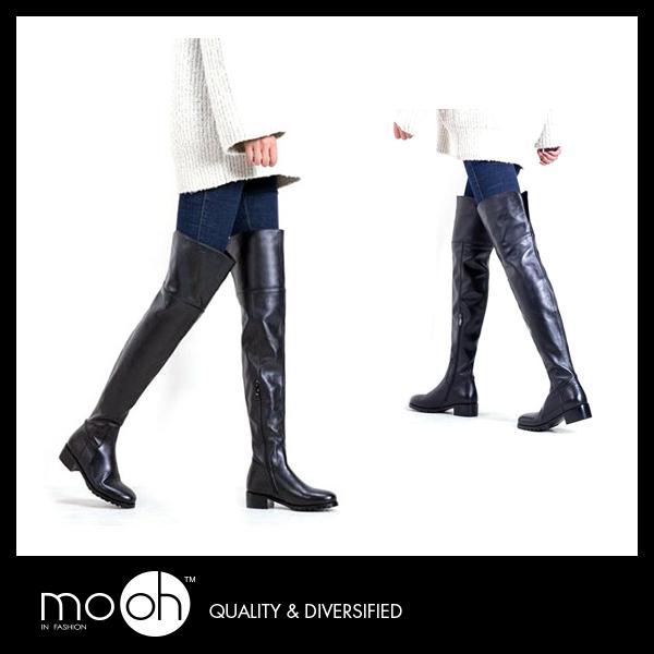 真皮過膝靴 大腿靴 粗跟 歐美超長牛皮黑色長靴 mo.oh (歐美鞋款)