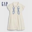 Gap女幼甜美花卉刺繡短袖洋裝574466-象牙白