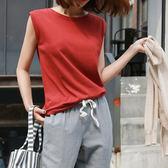 2018夏季新款韓范百搭簡約紅色無袖t恤女純棉背心女裝衣服打底衫 小巨蛋之家