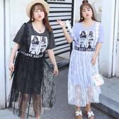★韓美姬★中大尺碼~長版T恤背帶蕾絲裙兩件式短袖洋裝XL~4XL)