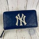 BRAND楓月 GUCCI 古馳 547791 藍色 GG紋 MLB 洋基隊 聯名 長夾 皮夾 錢夾 錢包