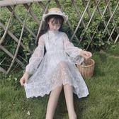 秋季女裝韓版氣質修身顯瘦仙女裙刺繡長袖蕾絲裙連身裙打底裙長裙  百搭潮品
