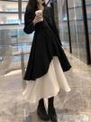 小黑裙小玉醬同款黑色收腰打底連身裙秋裝2019新款女chic兩件套裝小黑裙 伊蒂斯