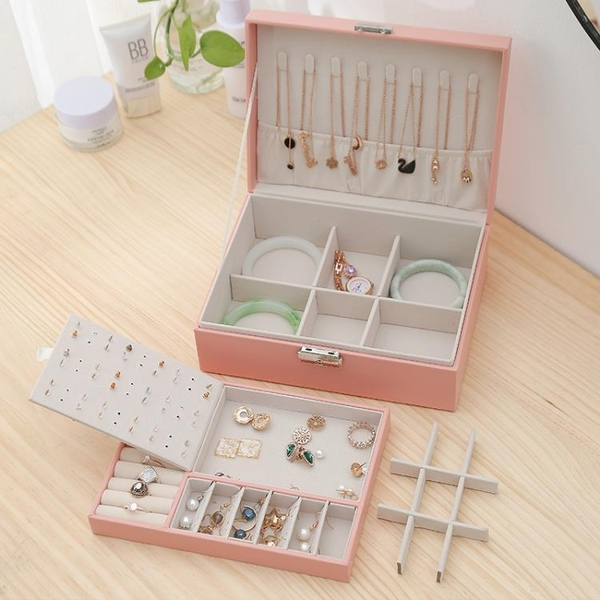 雙層帶鎖首飾盒收納盒耳釘環盒子飾品耳飾手飾收納盒ins風大容量 「青木鋪子」