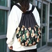 新款復古田園印花束口袋抽帶後背包女士簡易輕便旅行休閒背包【全館鉅惠】