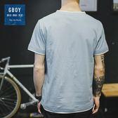 新款日系休閒簡約水洗潮男短袖T恤衫純色短袖打底衫男裝    初語生活