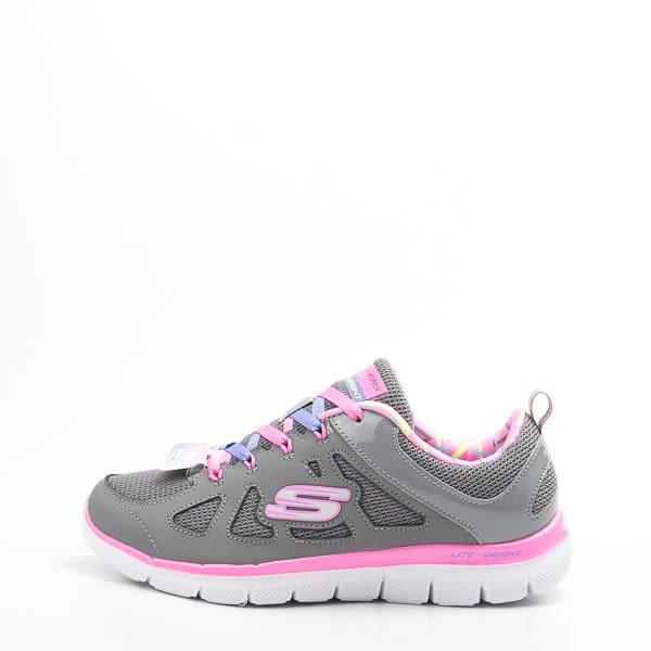 Skechers  air cooled 兒童慢跑鞋-灰/粉 81674LGYPK