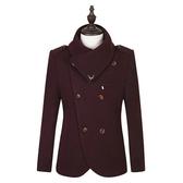 毛呢外套-青年雙排扣修身韓版短款男大衣2色72e11【巴黎精品】