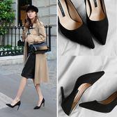 高跟鞋女細跟春秋網紅抖音少女小清新百搭職業正裝黑色工作鞋
