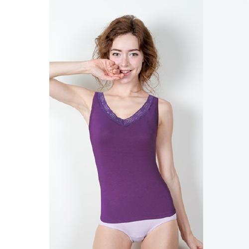 舒芙蕾 莫代爾蕾絲涼感背心 紫色 共2款【寶雅】
