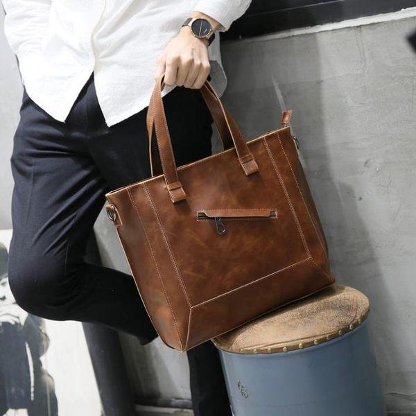 瘋馬皮單肩包斜背包休閒商務韓國男士包手提包斜跨潮 可可鞋櫃