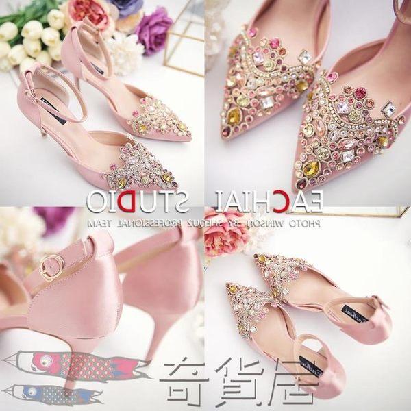 新娘婚鞋紅色新款韓版細跟中空一字扣水鉆單鞋女裸色高跟鞋尖頭鞋
