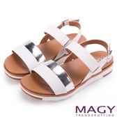 MAGY 樂活夏日 經典雙帶真皮撞色平底涼鞋-白色