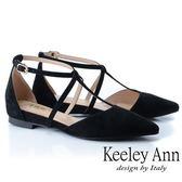 ★2019春夏★Keeley Ann慵懶盛夏 全真皮交叉帶尖頭麂皮包鞋(黑色) -Ann系列