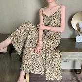 法式洋裝 碎花吊帶連身裙女夏季裙子仙女超仙森系法式雪紡長裙顯瘦-Ballet朵朵