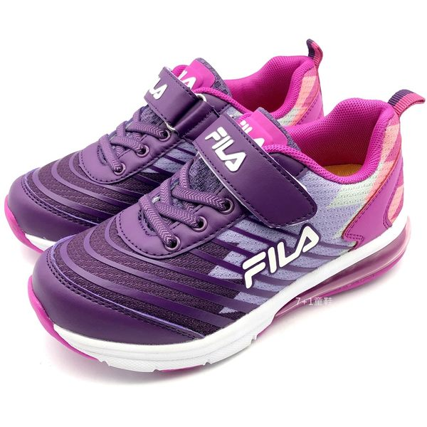 《7+1童鞋》FILA  3-J405T-291   膠條網布 氣墊鞋 運動鞋 慢跑鞋 4241  紫色