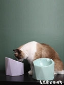 簡約主義幾何陶瓷貓碗保護頸椎貓咪碗架水碗食盆斜口唔哩貓碗  聖誕節