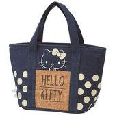 〔小禮堂〕Hello Kitty 丹寧保冷便當袋《S.藍.軟木棕.點點.大臉》保溫.保冷皆可 4973307-39553