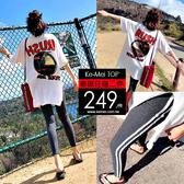 克妹Ke-Mei【AT58235】RUSH個性感背後字母寬鬆T恤+單槓內搭運動褲套裝