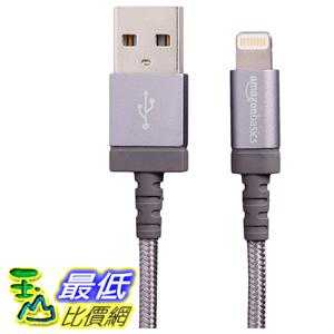 [106美國直購] AmazonBasics Nylon Braided 數據線 USB A to Lightning Compatible Cable - Apple MFi Certified Dark Grey