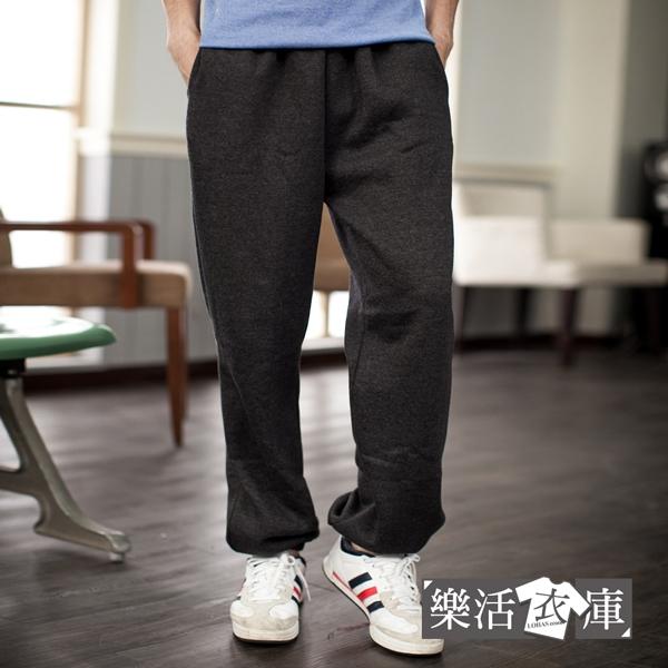 MIT嘻哈鬆緊磨毛運動厚棉褲(共四色) 樂活衣庫【P1053】