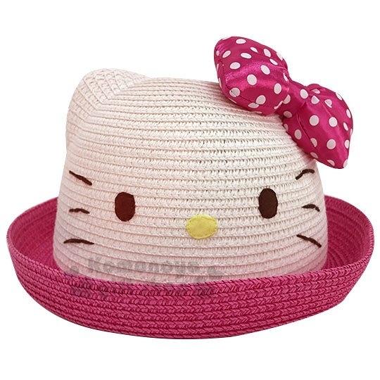 〔小禮堂〕Hello Kitty 兒童造型藤編圓頂帽《桃邊.大臉》編織帽.草帽.2019夏日兒童服飾 4901610-12963