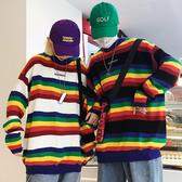 黑暗少女韓國ins同款彩虹條紋字母寬鬆套頭保暖毛衣長袖男女款服 瑪奇多多多