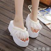 拖鞋 沙灘鞋女外穿拖鞋女串珠厚底人字拖夾腳鬆糕跟韓版坡跟涼拖鞋 綠光森林