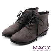 MAGY 中性帥氣 荔枝紋牛皮雕花綁帶踝靴-灰色