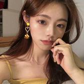 耳環 68355#925銀針韓版愛心珍珠鏤空布藝花朵耳環時尚簡約超仙耳釘D507快時尚