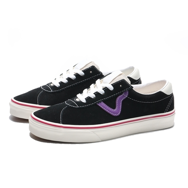 VANS 休閒鞋 SPORT 黑紫 麂皮 紅線 板鞋 滑板鞋 男女(布魯克林) VN0A4BU62TX