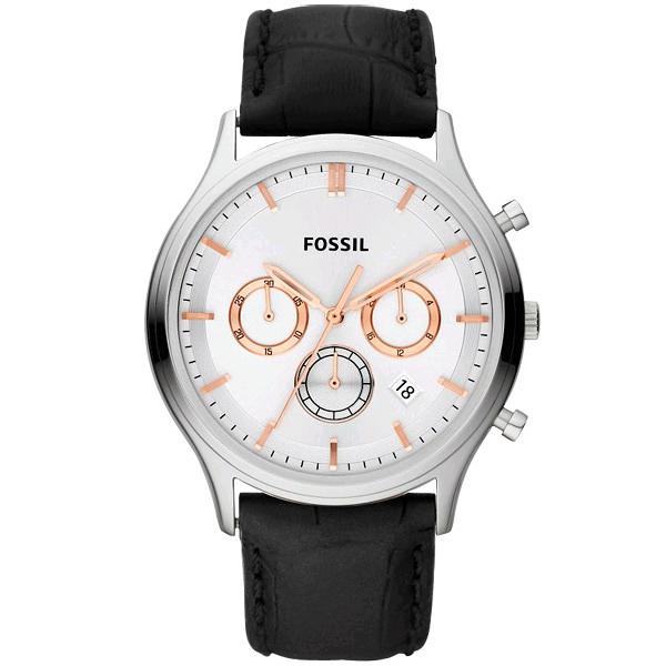FOSSIL 都會紳士三眼魅力腕錶(白)
