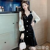 魚尾連身裙 赫本風長袖荷葉邊連身裙收腰顯瘦氣質修身褶皺復古魚尾桔梗裙子女 coco