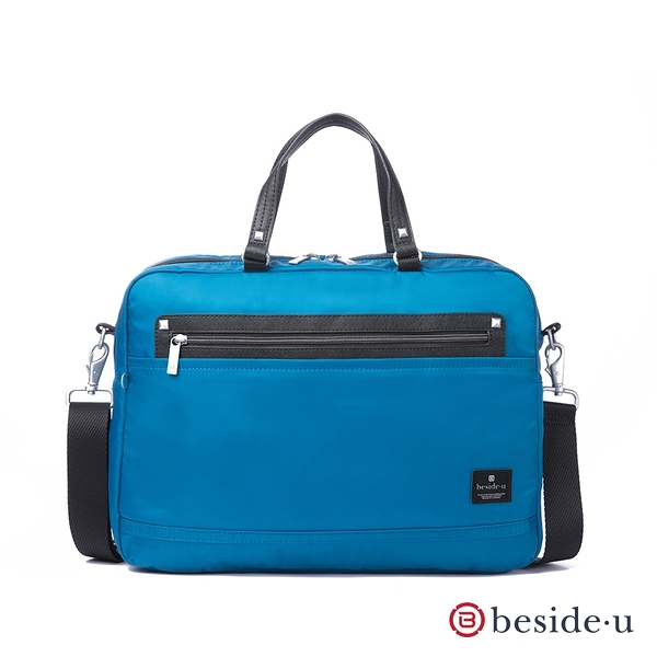 beside u BNUM防盜刷商務通勤15吋筆電行李箱拉桿公事包電腦包手提側背兩用包-藍色 原廠公司貨
