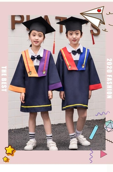 兒童博士服幼兒園學士服畢業照服裝博士帽畢業袍衣服小學畢業禮服 蘿莉新品